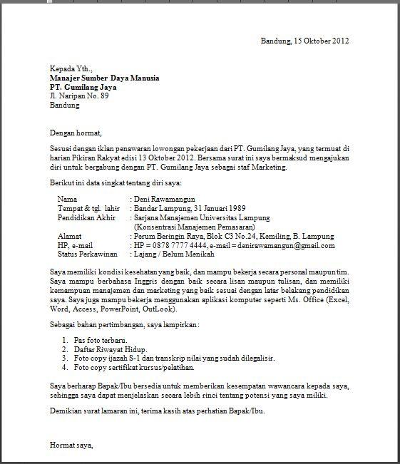 Surat Lamaran Kerja Penting Untuk Para Pelamar Kerja Ujiansma Com